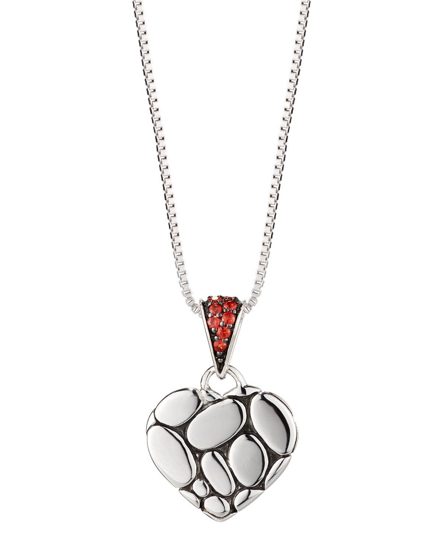John Hardy Kali Lava Heart Pendant Necklace w/ Red Sapphires BsIa1Pim