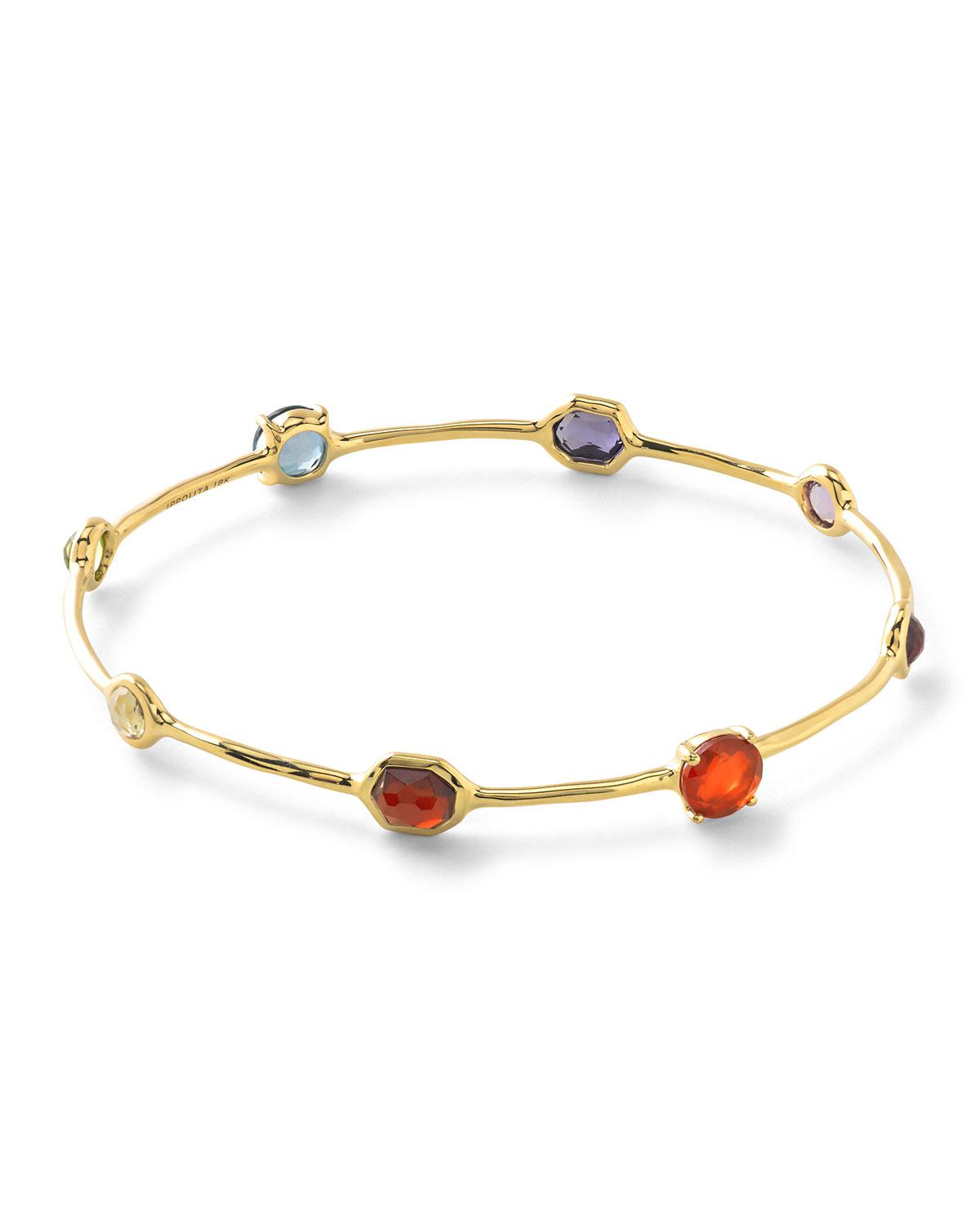 Ippolita Rock Candy Lollipop 18k Gold Multi-Gemstone Bangle snV93S