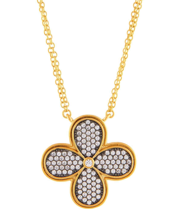 Freida Rothman Double-Strand Pave Crystal Clover Pendant Necklace iAOtJc
