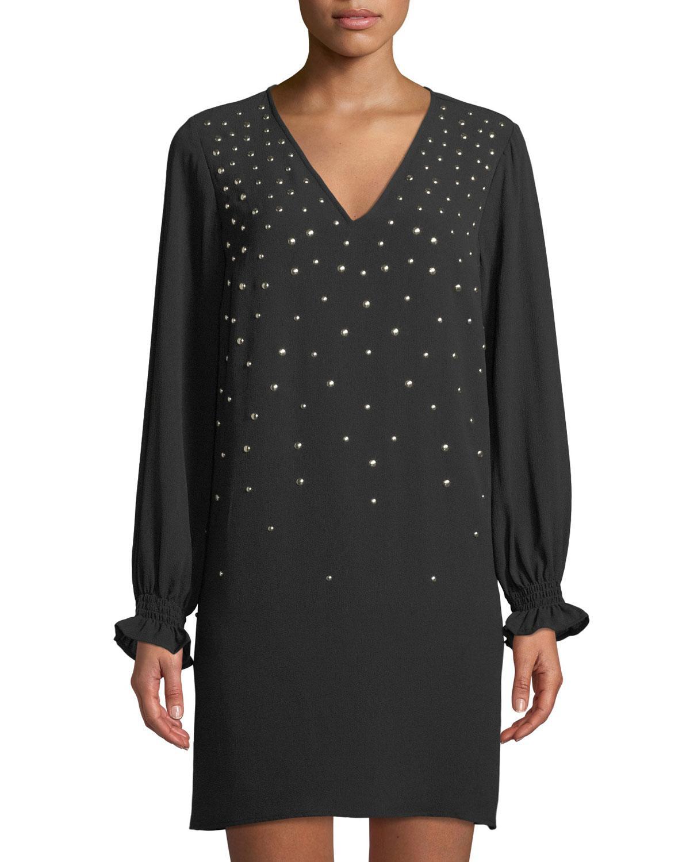1ebb441ef41a Lyst - MICHAEL Michael Kors Studded Crepe Shift Dress in Black