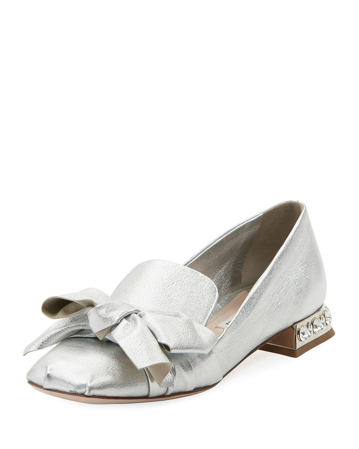 6c91b8d96 Lyst - Miu Miu Leather Smoking Slippers in Metallic - Save 18%