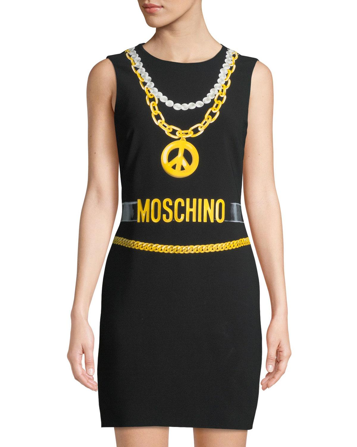 ed9145dfbd8a Lyst - Moschino Logo-graphic Shift Dress in Black