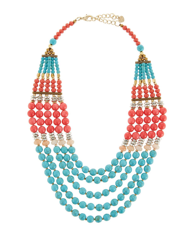 Nakamol Multi-Strand Necklace, Turquoise/Pink
