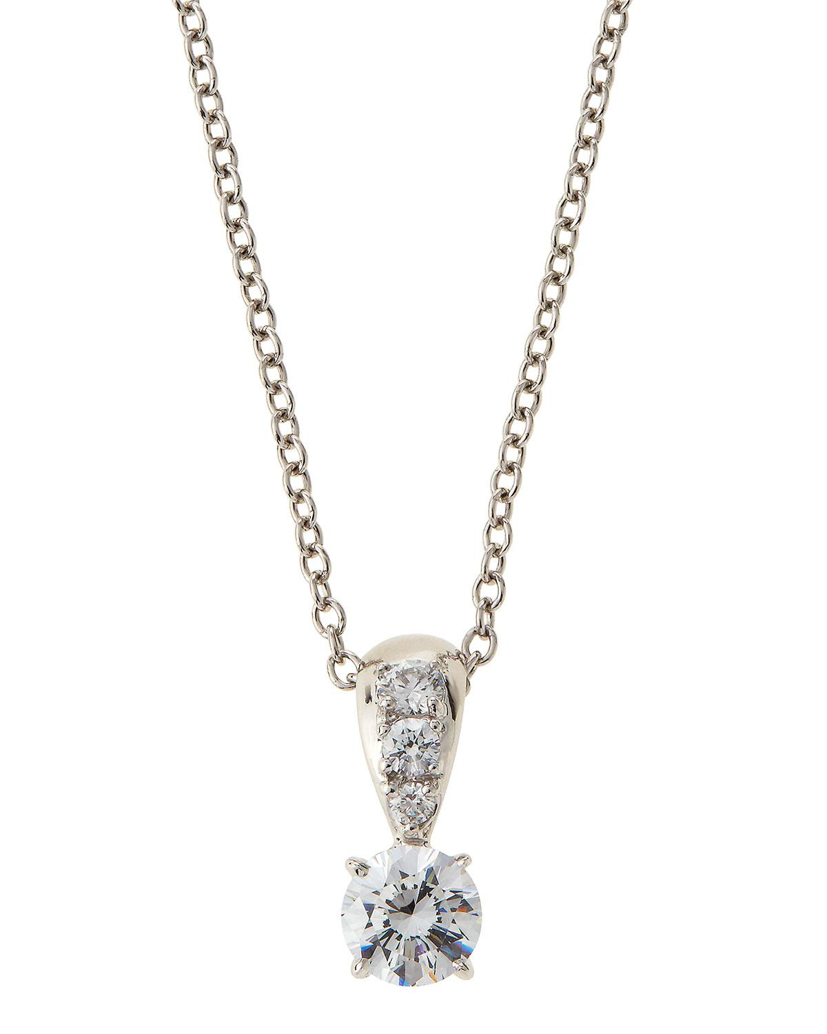 Fantasia Triple Round CZ Drop Pendant Necklace ShJbd