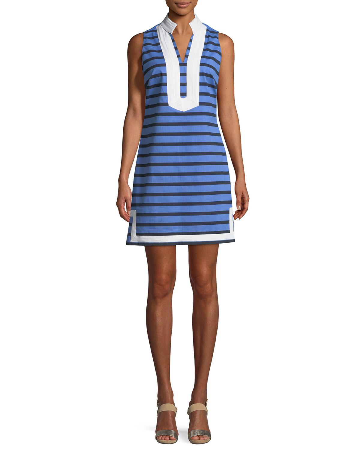292eac95de5 Lyst - Sail To Sable Sleeveless Striped Tunic Dress in Blue