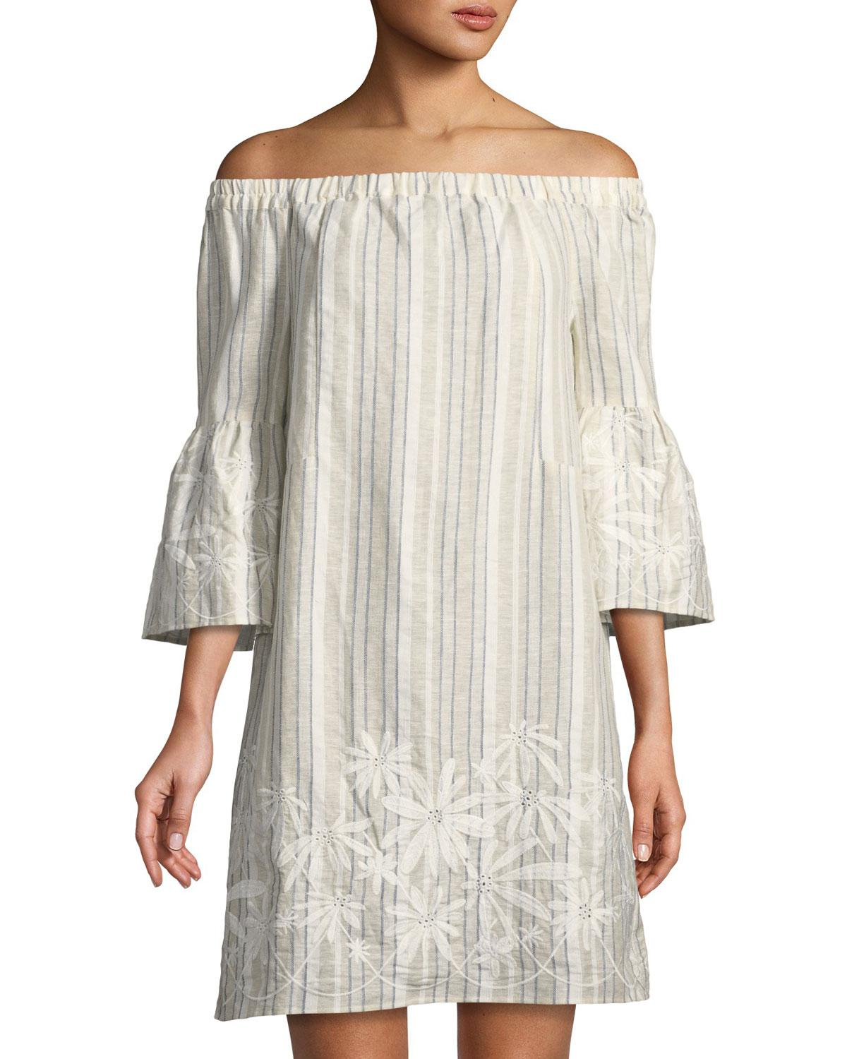 4d647c73d73 Lyst - Neiman Marcus Off-the-shoulder Embroidered Striped Linen ...