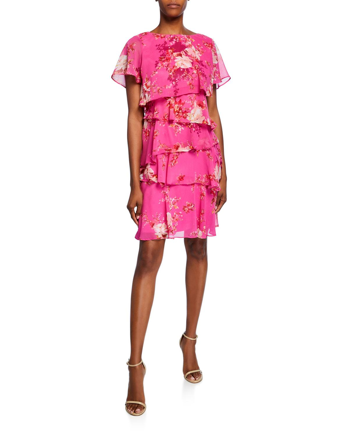 636deb14 Tahari Floral Short-sleeve Multitiered Chiffon Dress in Pink - Lyst