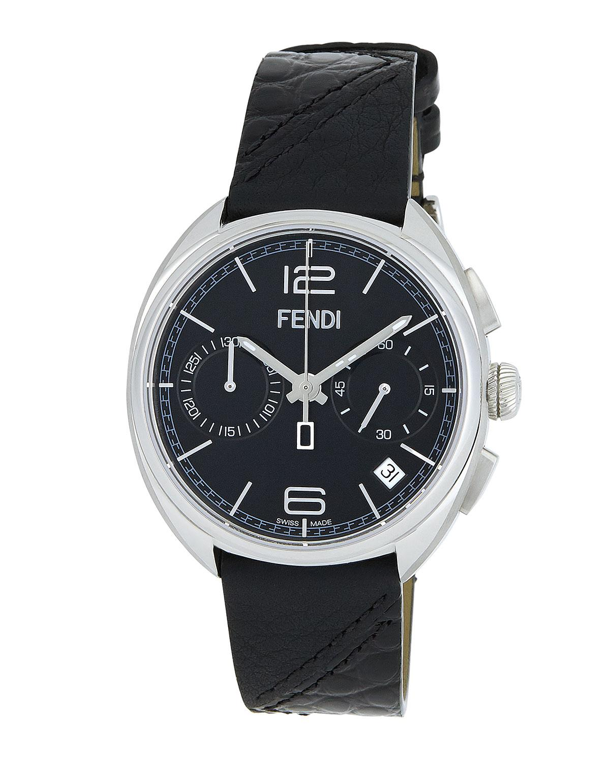 9031a6962 Fendi 40mm Momento Chronograph Watch Black in Black for Men - Lyst