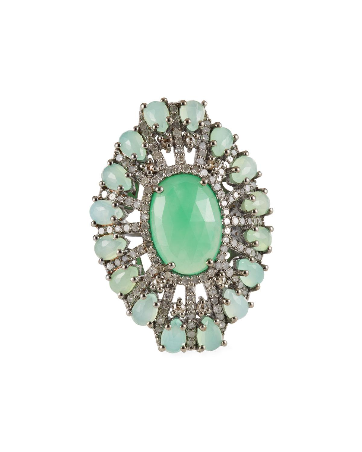 Bavna Turquoise & Diamond Oval Ring Btz16gFPT2