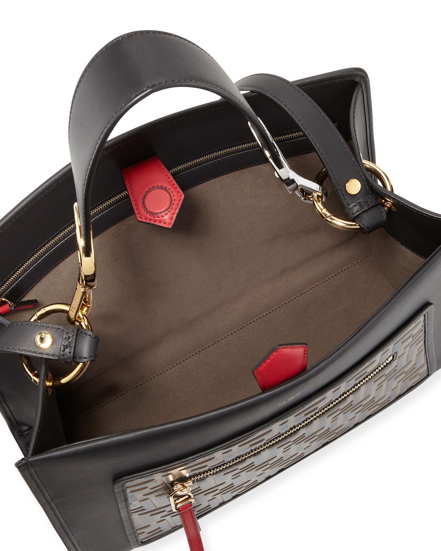 98de3c41ad84 Lyst - Fendi Runaway Logo Medium Top-handle Bag in Black