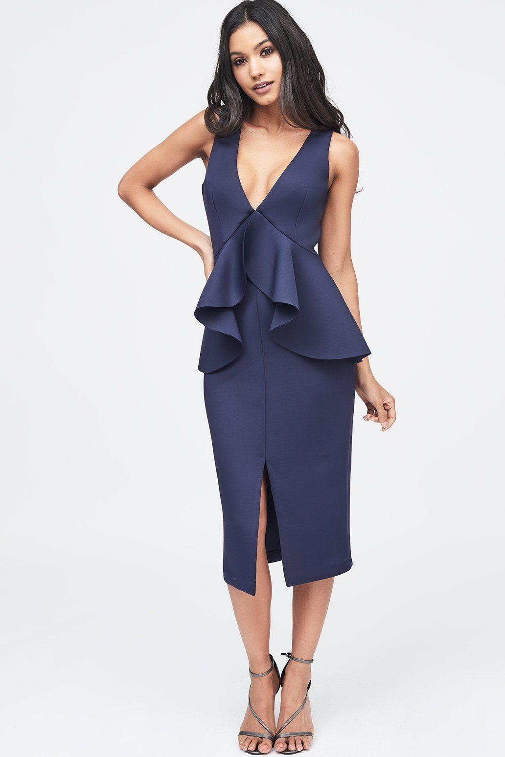 5f438b72060 Lavish Alice - Blue Scuba Peplum Ruffle Dress In Navy - Lyst. View  fullscreen