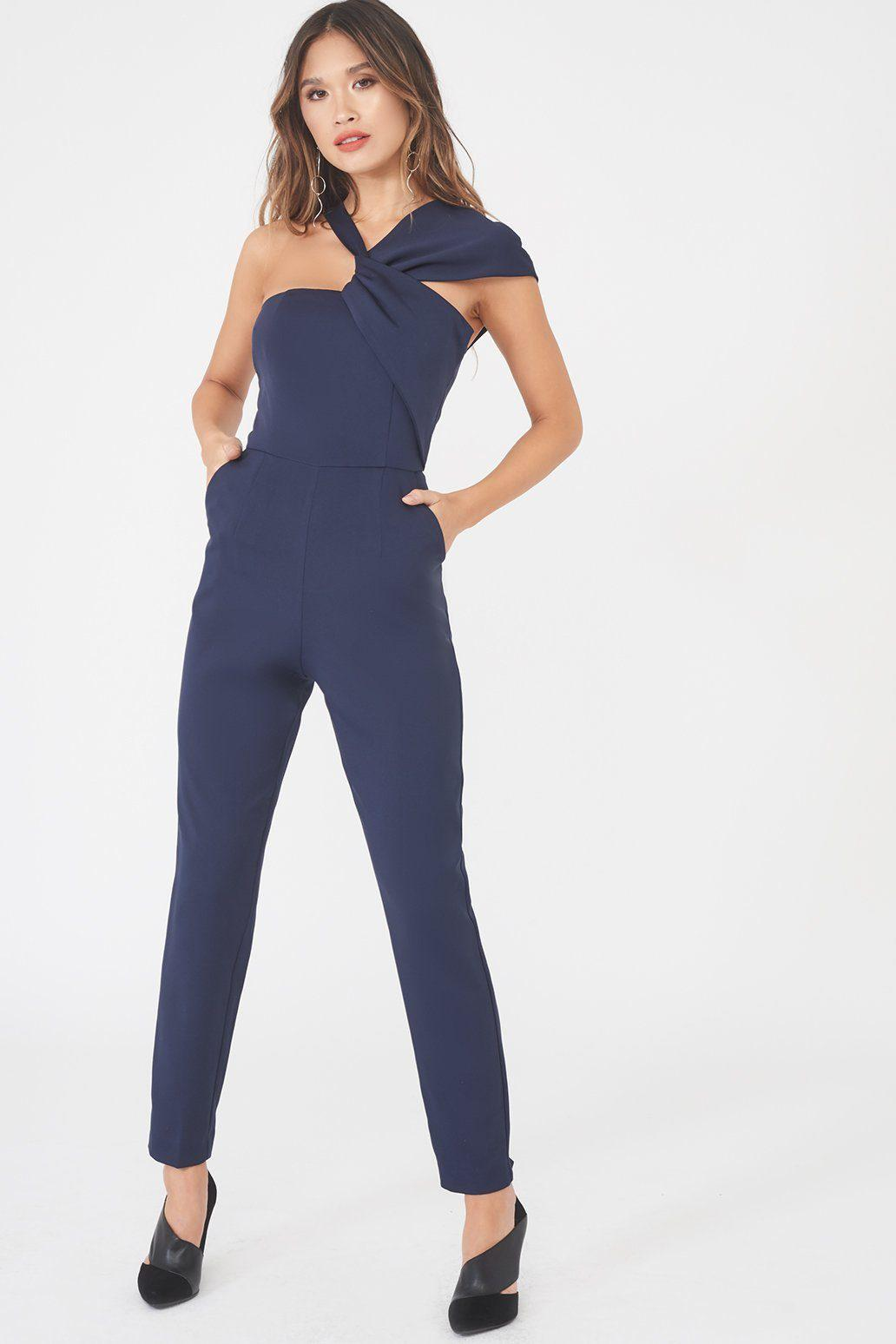 c76cd21ebe7 Lyst - Lavish Alice Asymmetric Twist Detail Tapered Jumpsuit In Navy ...