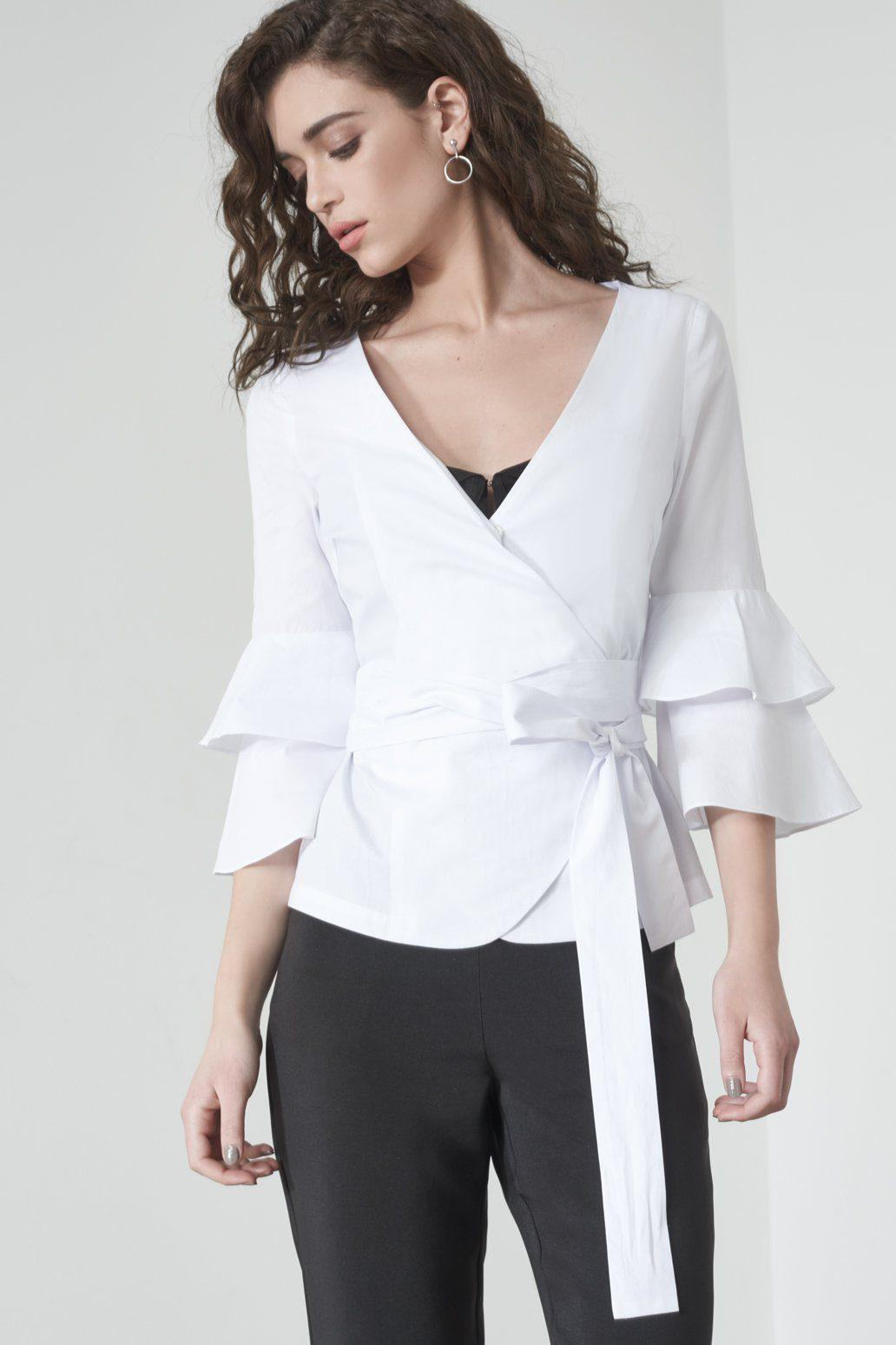 1e3907ada97829 Lyst - Lavish Alice Ruffle Sleeve Wrapover Shirt In White in White