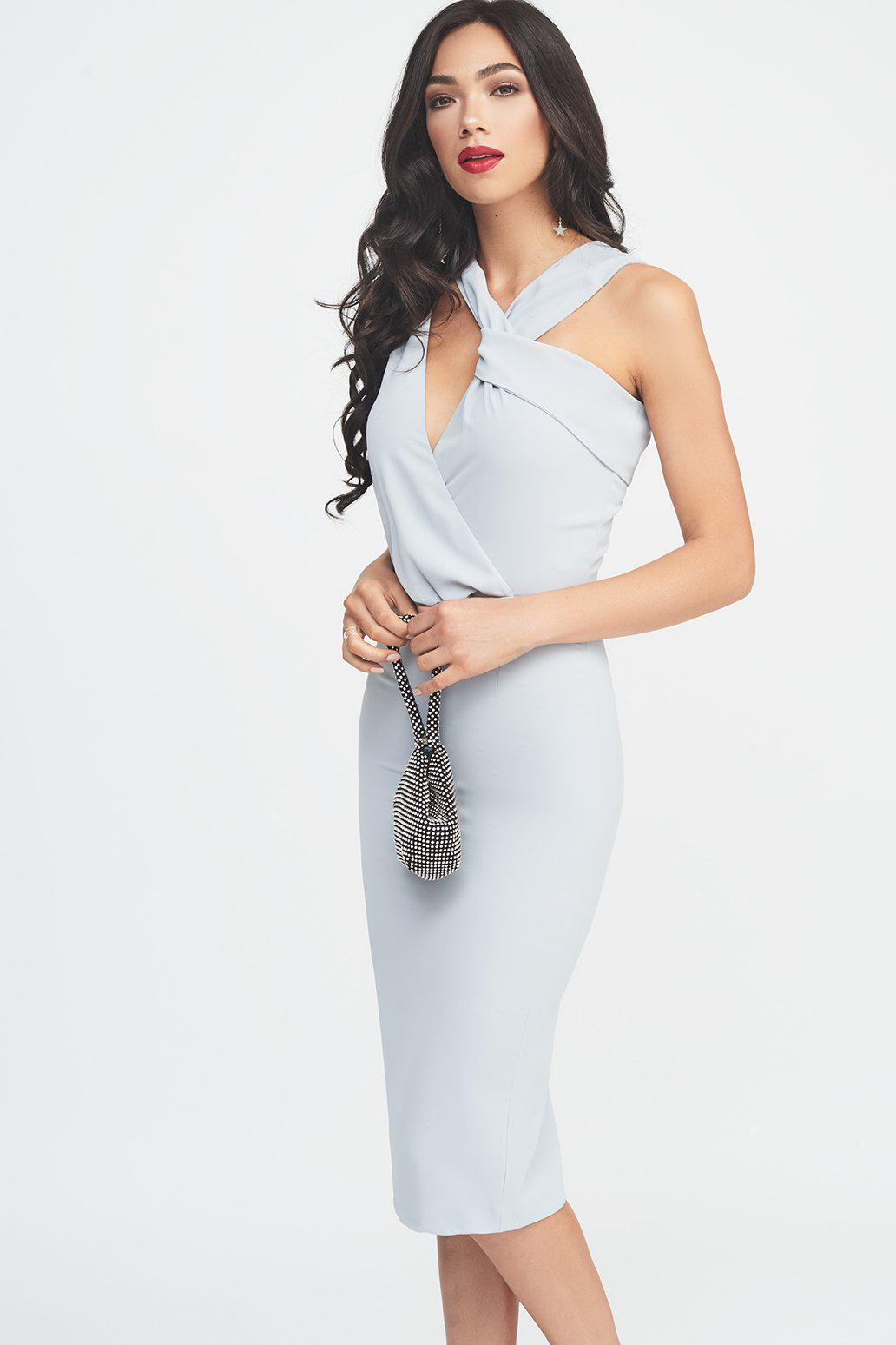 65f404d1de9 Lavish Alice Cut-out Drape Midi Dress In Grey in Gray - Lyst