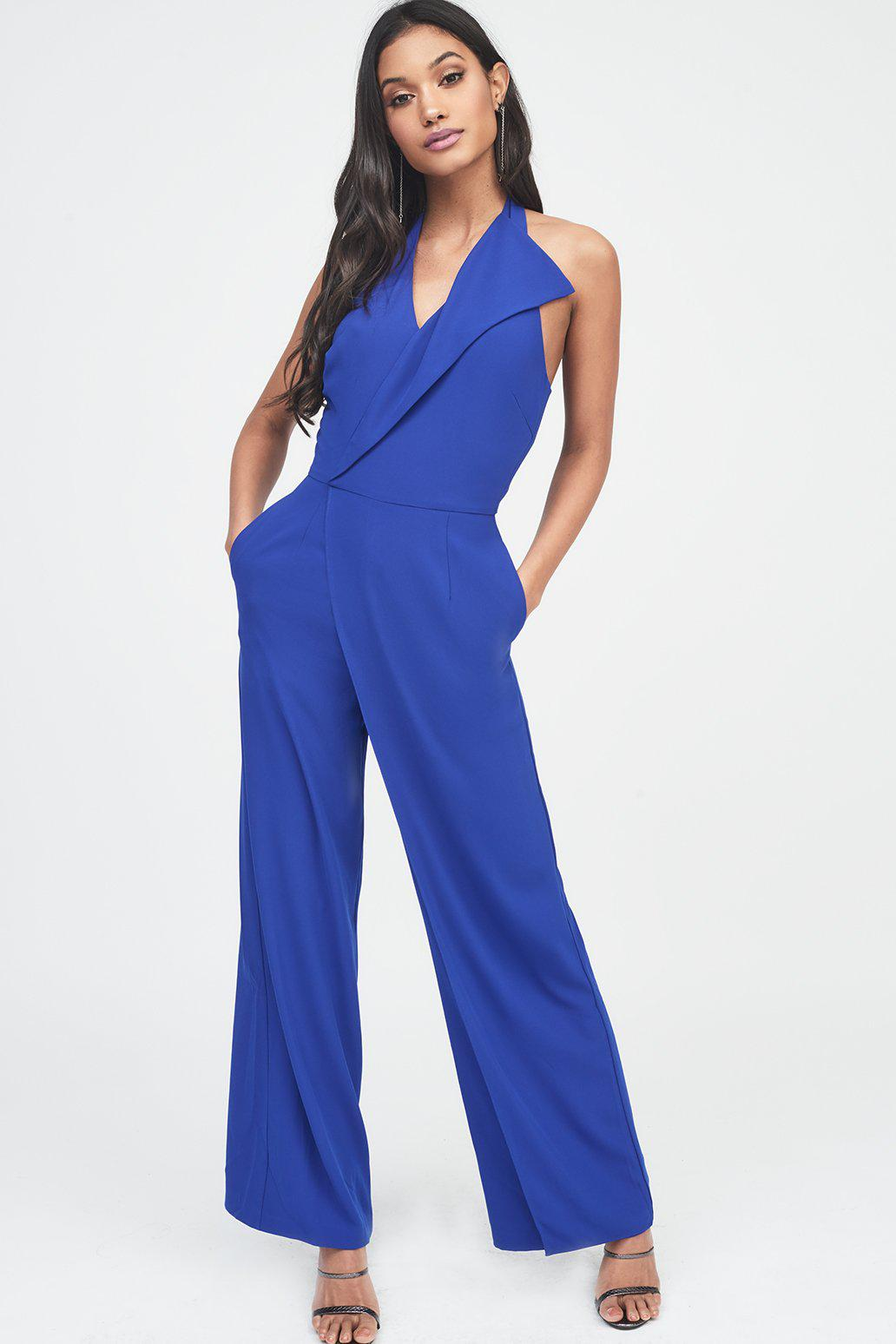 fb67a4a238b Lyst - Lavish Alice Oversized Collar Halterneck Jumpsuit in Blue