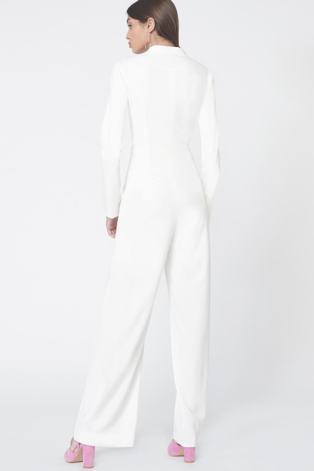 1aa0a640f793 Lyst - Lavish Alice Asymmetric Tuxedo Style Jumpsuit In Off White in ...