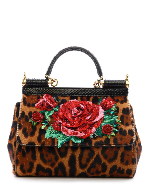 1738387dd8ae Lyst - Dolce   Gabbana Sicily Bag Pony Leo in Brown
