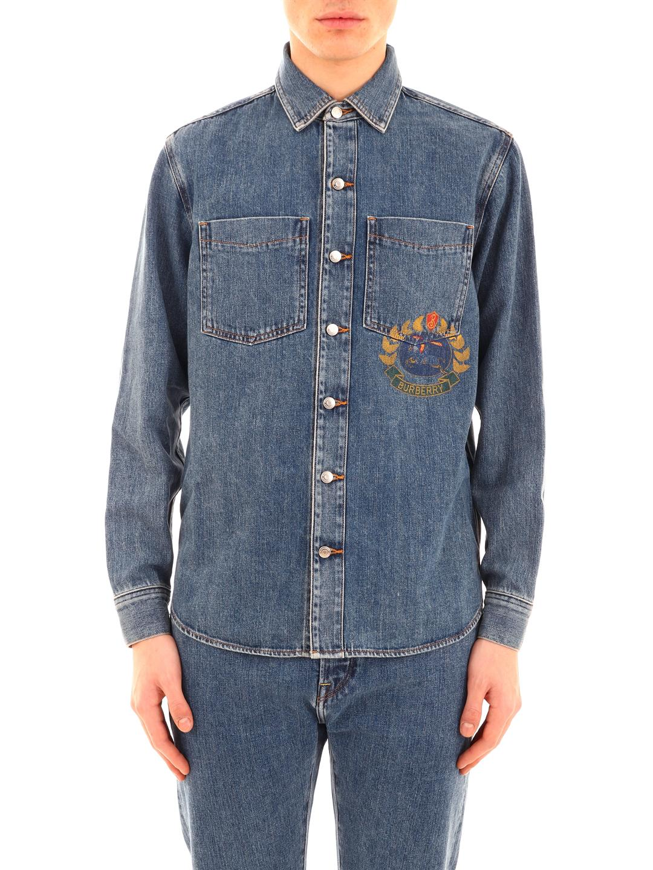 b79b700a5f Lyst - Burberry Crest-print Denim Shirt in Blue for Men - Save 19%