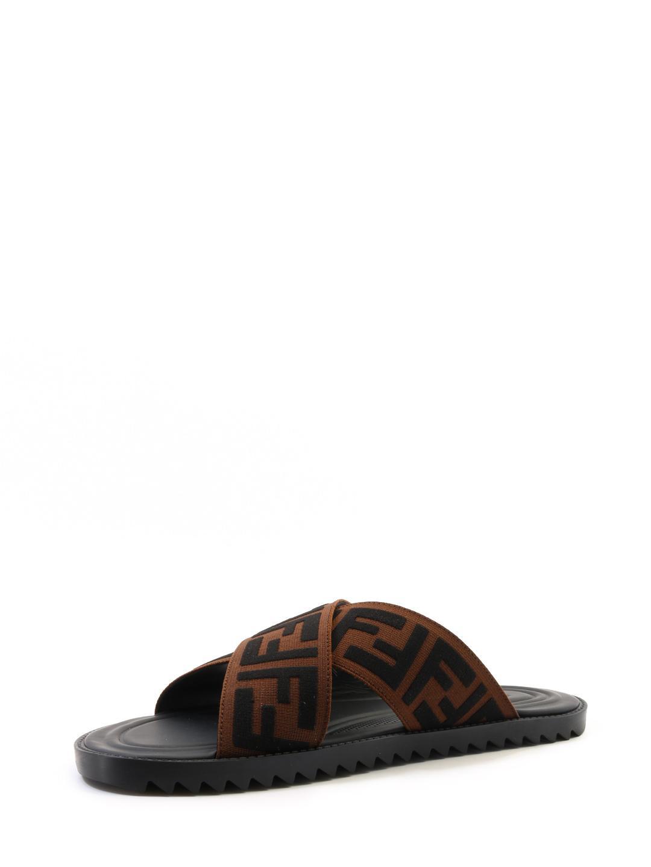 f32eec6552a Lyst - Fendi Jacquard Crossover Slides in Brown for Men - Save 17%