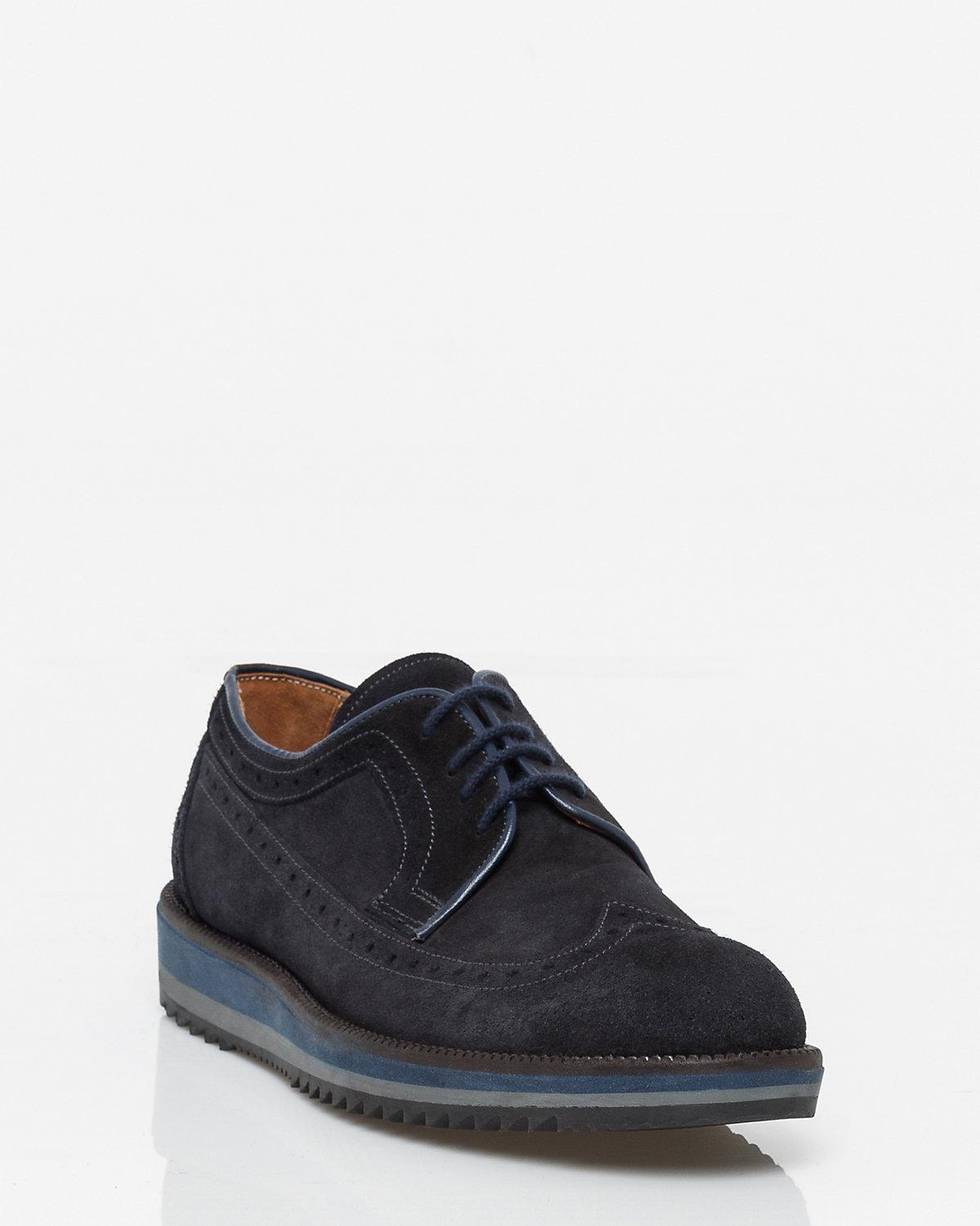 5337b7a346ff Le Chateau Italian-made Suede Longwing Derby Brogue in Blue for Men ...