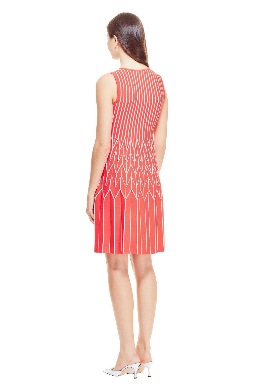 2eb76a645f Lela Rose - Pink Pinstripe Knit Pleated Skirt Dress - Lyst. View fullscreen