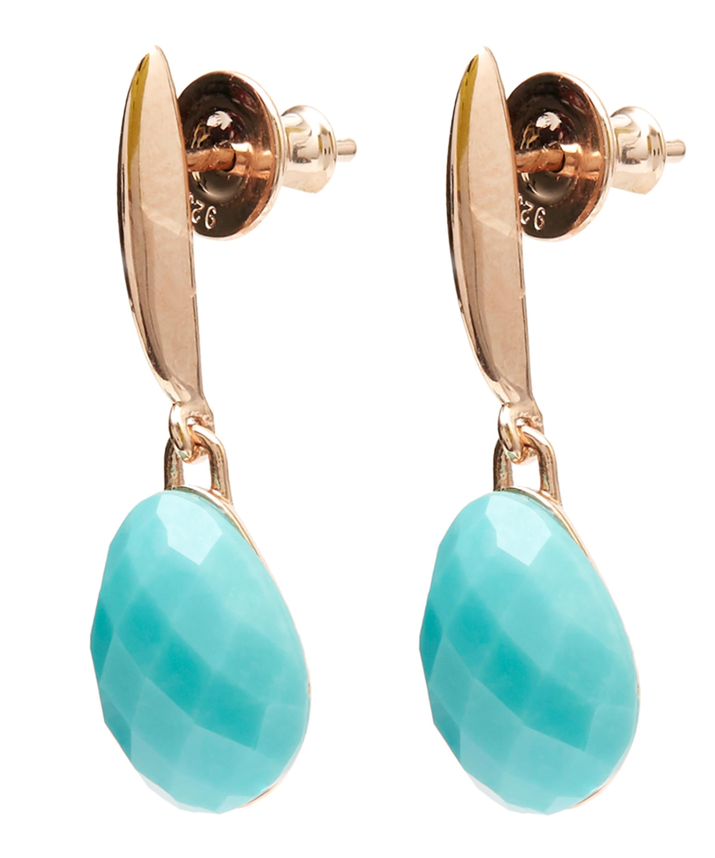 Rose Gold Nura Small Teardrop Earrings Turquoise Monica Vinader A4guKyII78