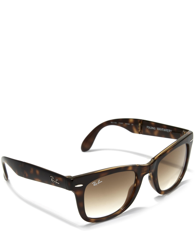 0ccd8476adc Lyst - Ray-Ban Tortoiseshell Folding Wayfarer Sunglasses in Brown for Men