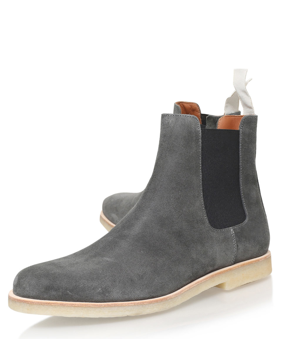 common projects grey suede chelsea boots in gray for