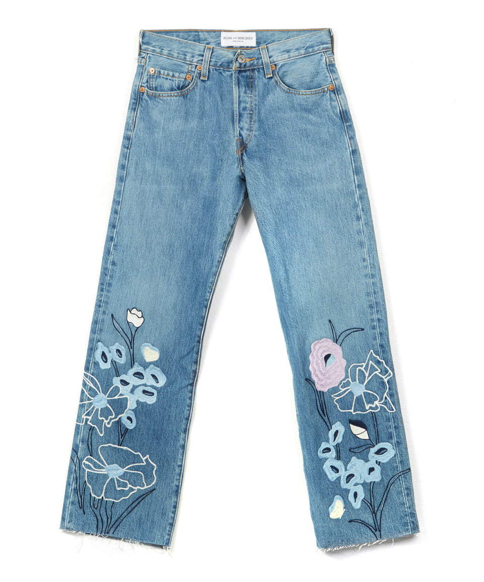 Bliss and mischief blue embroidered wild flower cropped