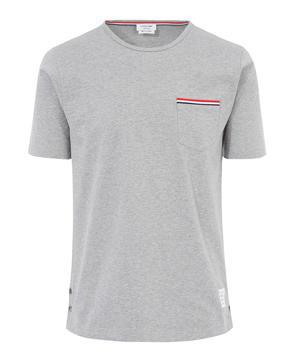 Lyst thom browne grey cotton henley t shirt in gray for Thom browne t shirt