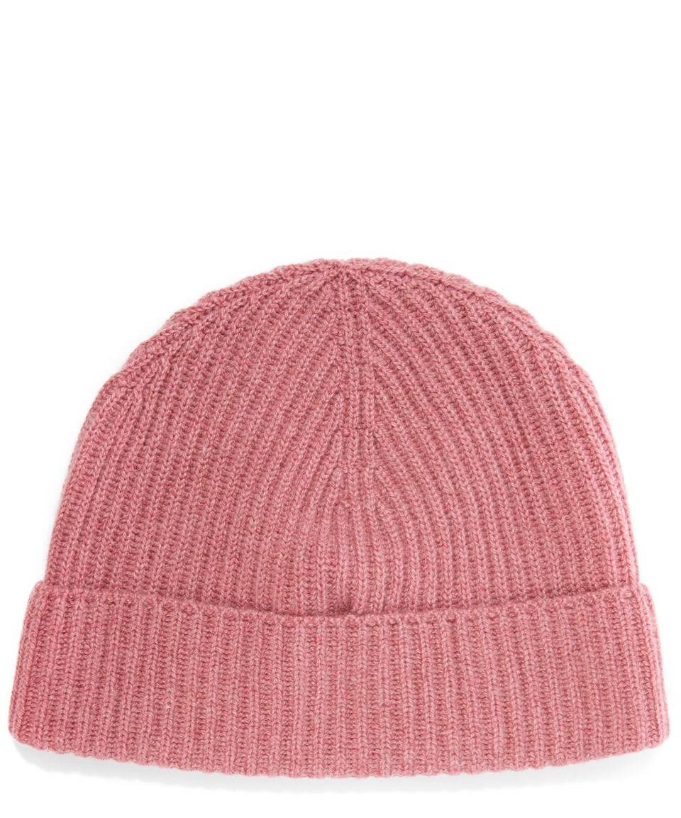 Knitting Pattern Cashmere Hat : Johnstons Cashmere Knitted Ribbed Beanie Hat in Pink Lyst