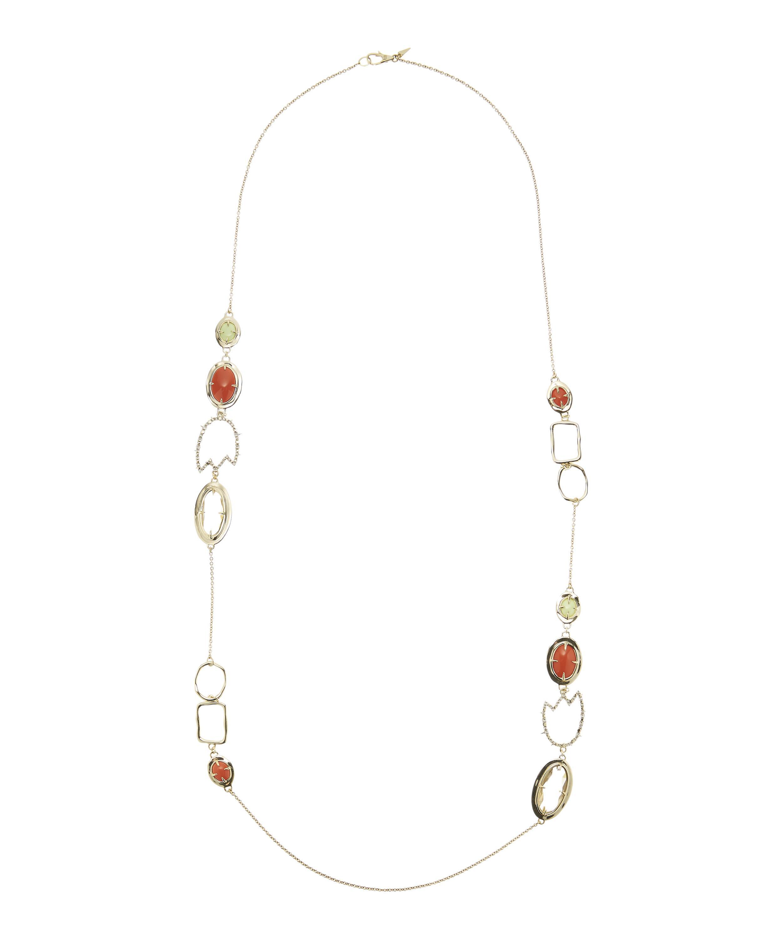 Alexis Bittar Crystal Encrusted Abstract Tulip Stone Station Necklace JAWpJ