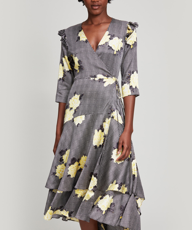 18a0b5b79f7b50 Ganni Calla Silk Dress in Black - Lyst