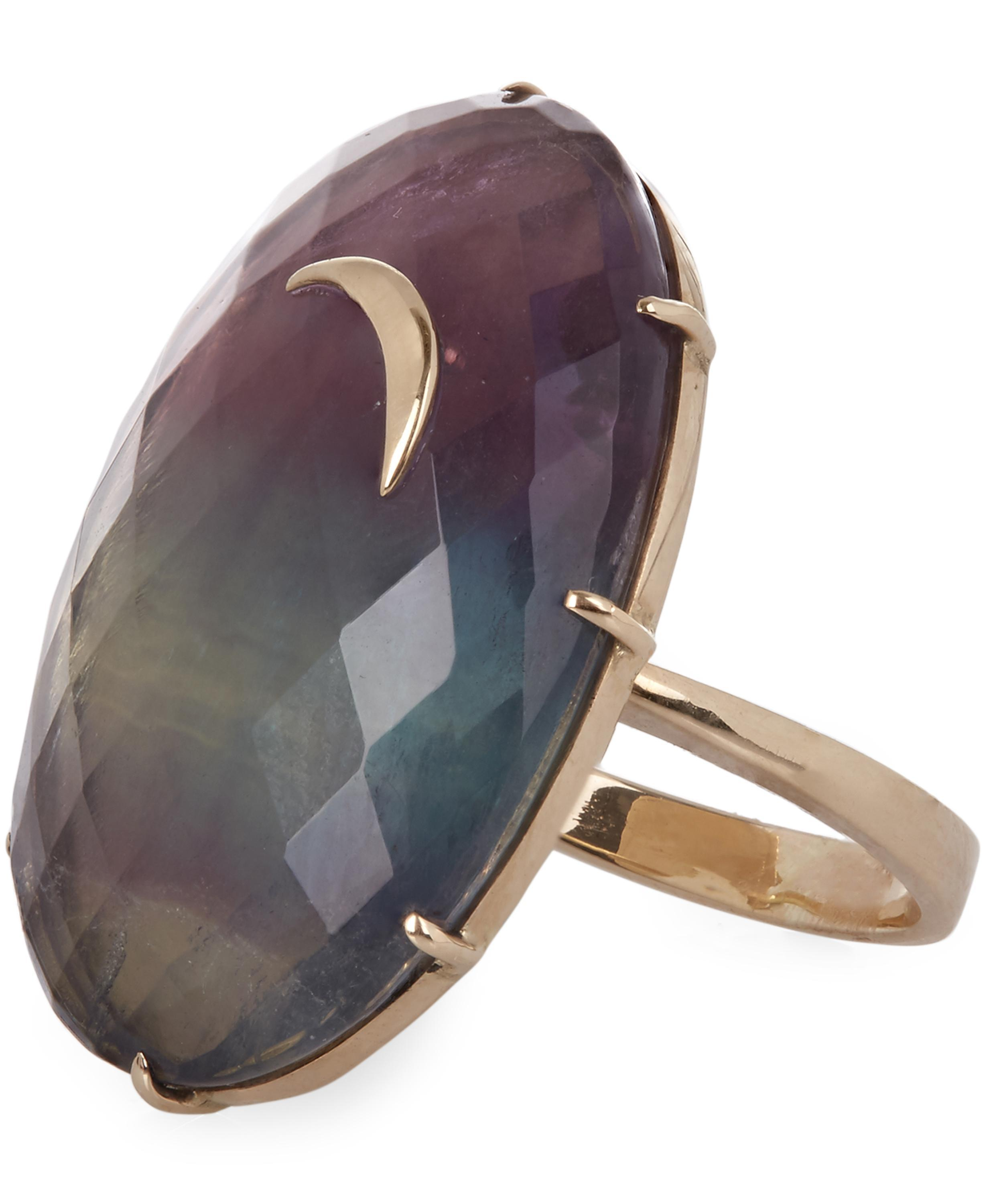 lyst view crescent large oval fluorite moon andrea fullscreen rings fohrman rainbow gold jewelry ring