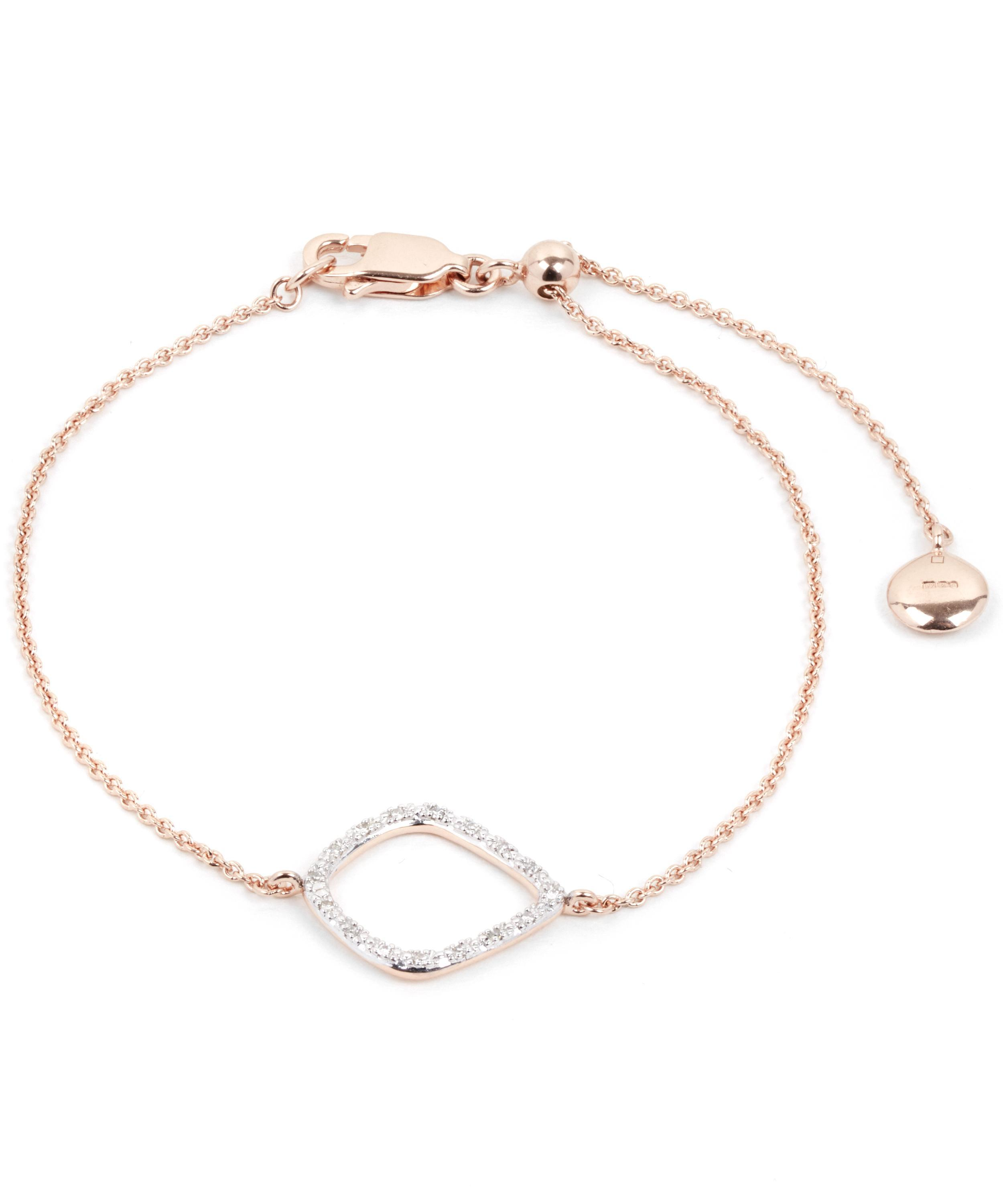 Rose Gold Riva Large Hoop Bracelet Diamond Monica Vinader