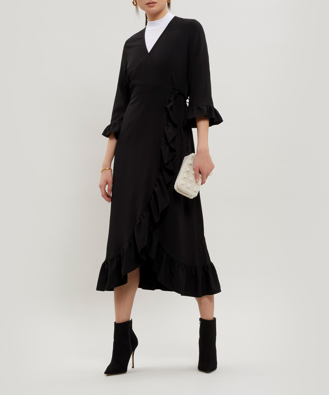 b924476c Ganni Clark Ruffle Wrap-dress in Black - Lyst