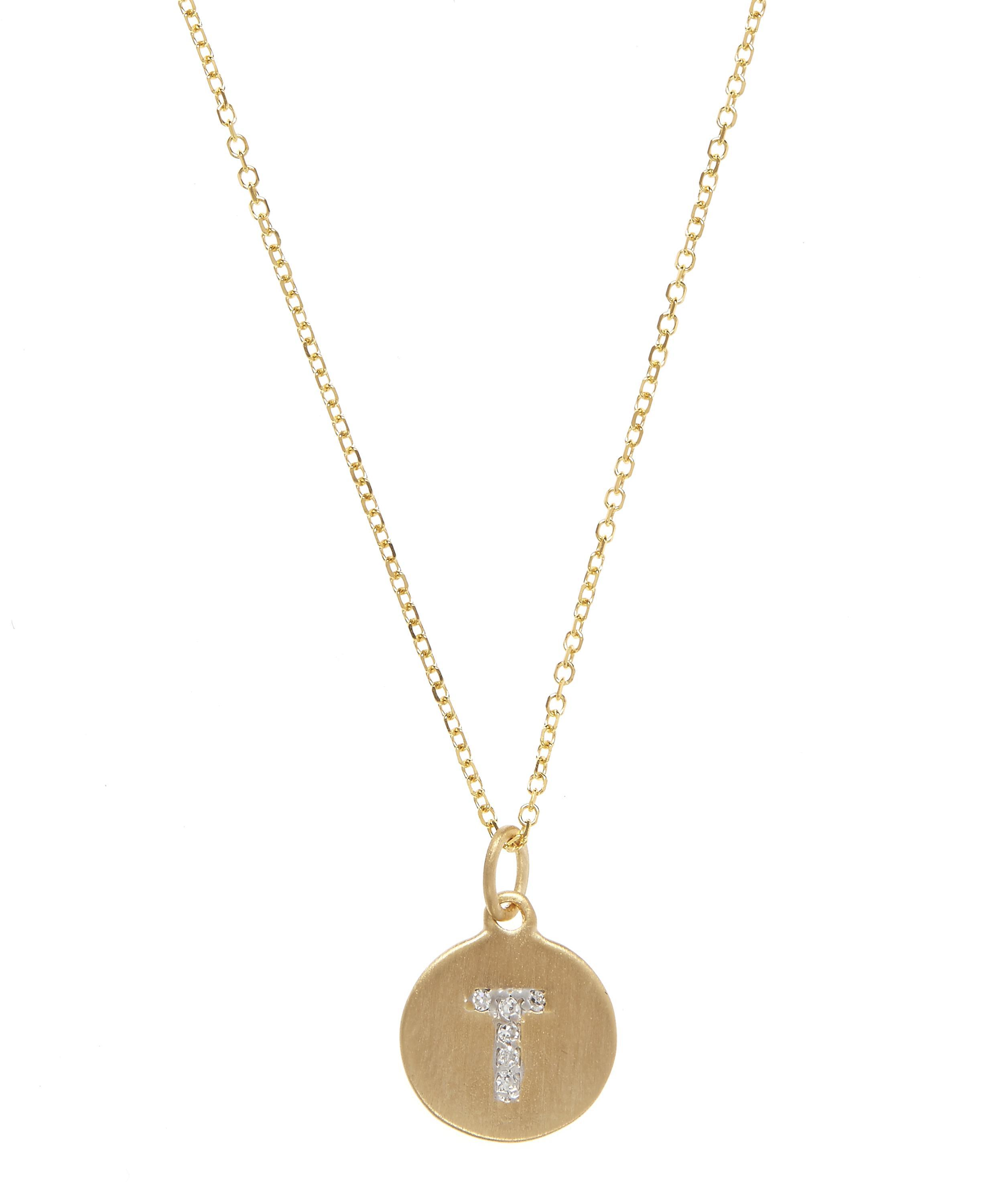 necklace pendant flat g letter au gold