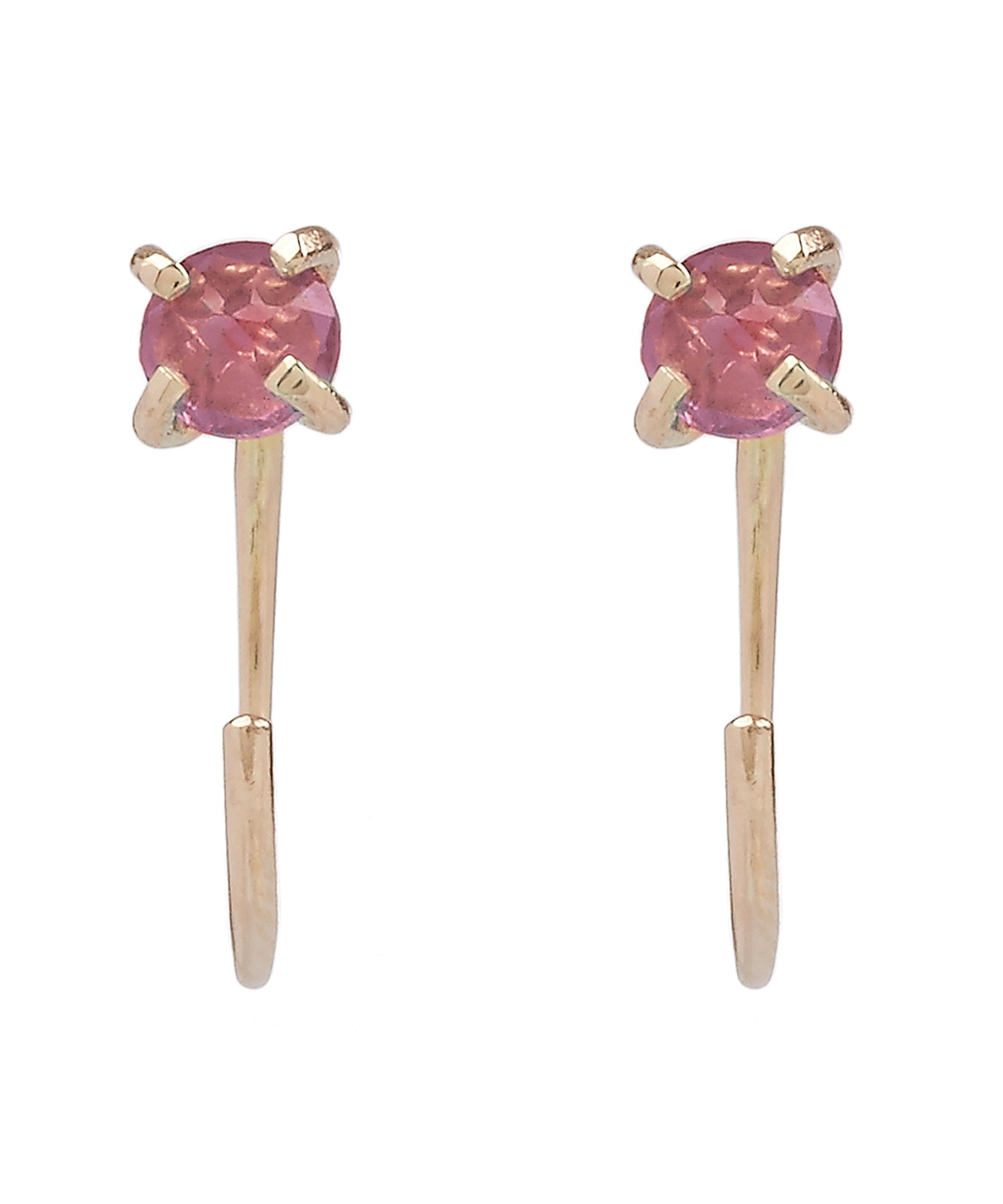 garnered shop garnet rhodolite gold earrrings lens carat handmade mosseri abby product jewellery the earrings