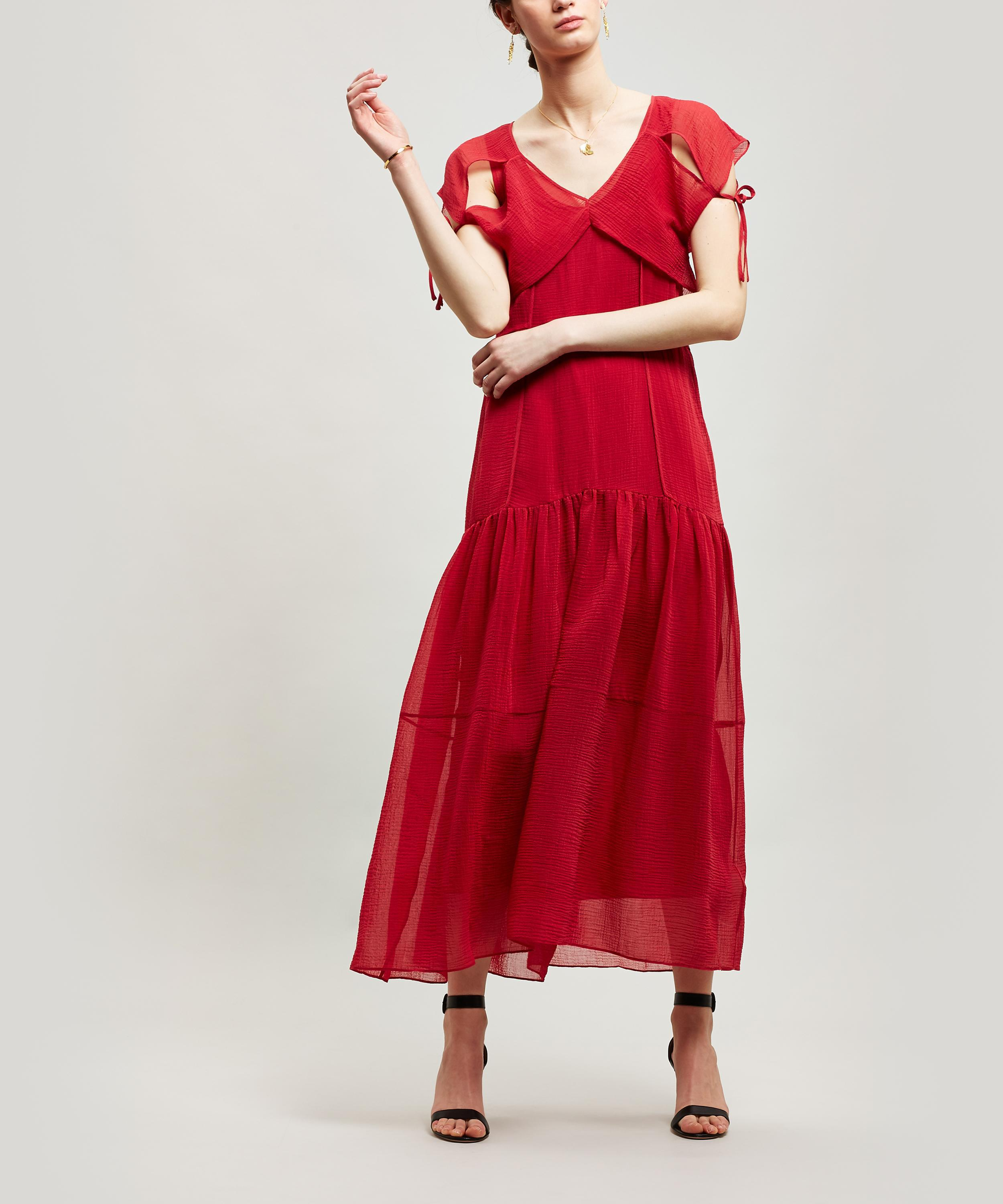 ee1236a4669 3.1 Phillip Lim Textured Silk Maxi-dress in Red - Lyst