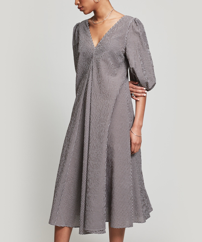 0de5dda4 Ganni Charron V-neck Dress in Gray - Lyst