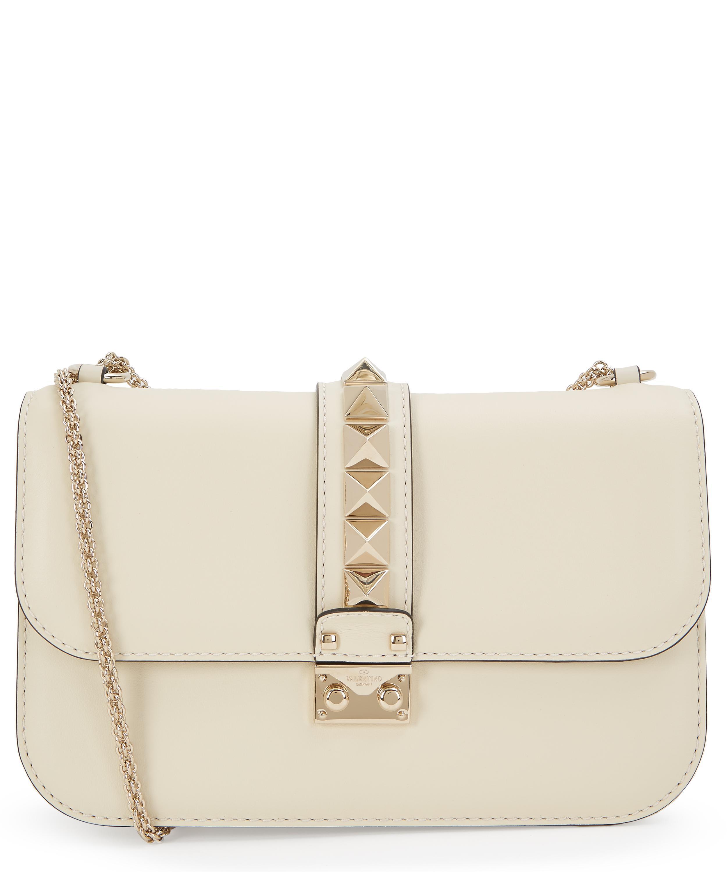 a02be4e7146e Valentino - White Medium Leather Rockstud Shoulder Bag - Lyst. View  fullscreen