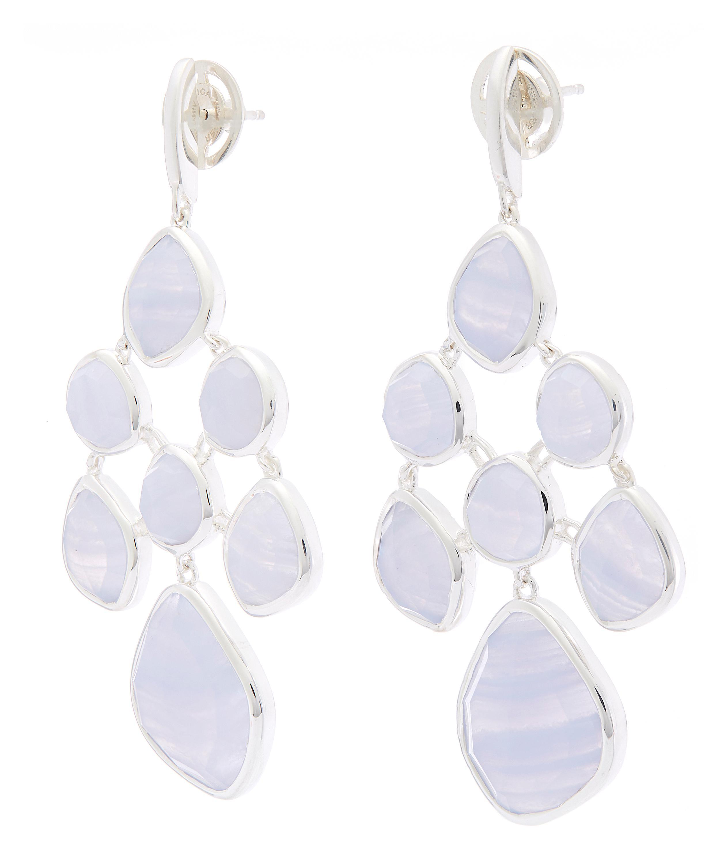Sterling Silver Siren Mini Nugget Cocktail Earrings Blue Lace Agate Monica Vinader P2nA8Xii