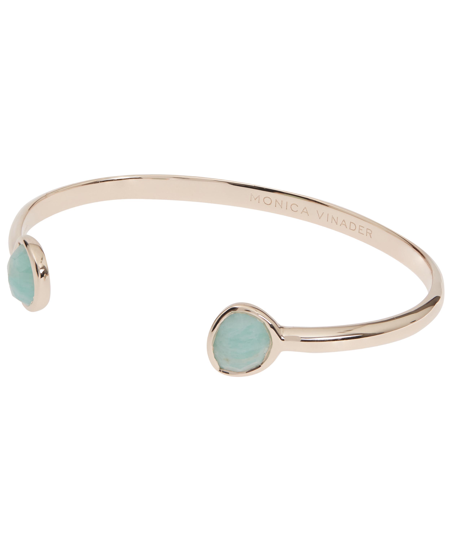 5e282f62d1ca17 Monica Vinader - Metallic Rose Gold Vermeil Siren Amazonite Thin Cuff  Bracelet - Lyst. View fullscreen