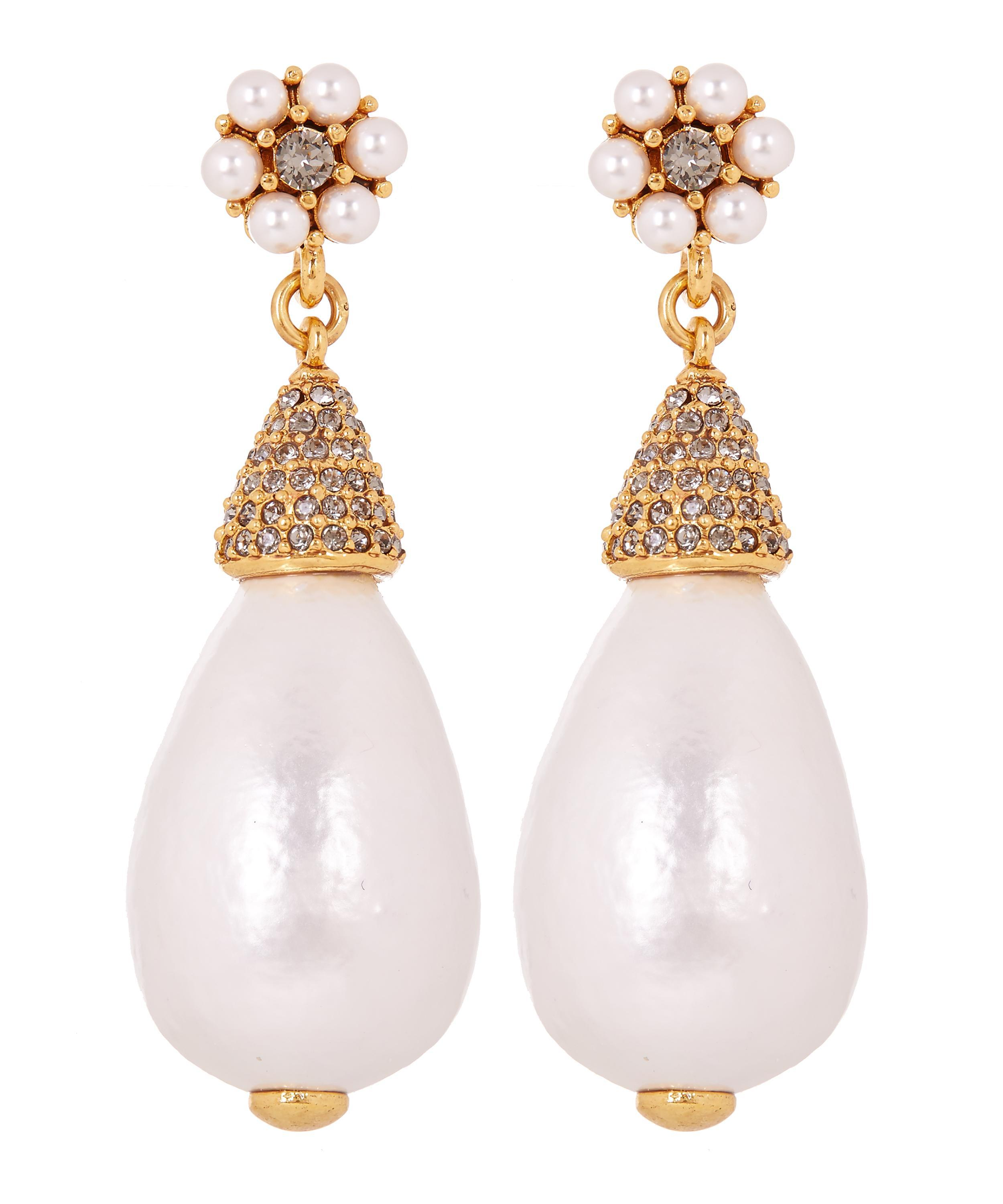 24376ddb35f7 Lyst - Oscar de la Renta Gold-plated Baroque Pearl Drop Earrings in ...