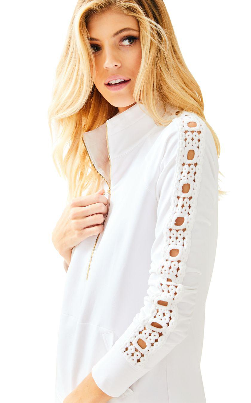 1b8b238625d Lyst - Lilly Pulitzer Skipper Solid Popover - Lace Sleeve in White