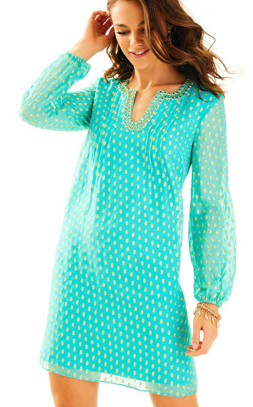 Lyst - Lilly Pulitzer Colby Silk Tunic Dress in Blue