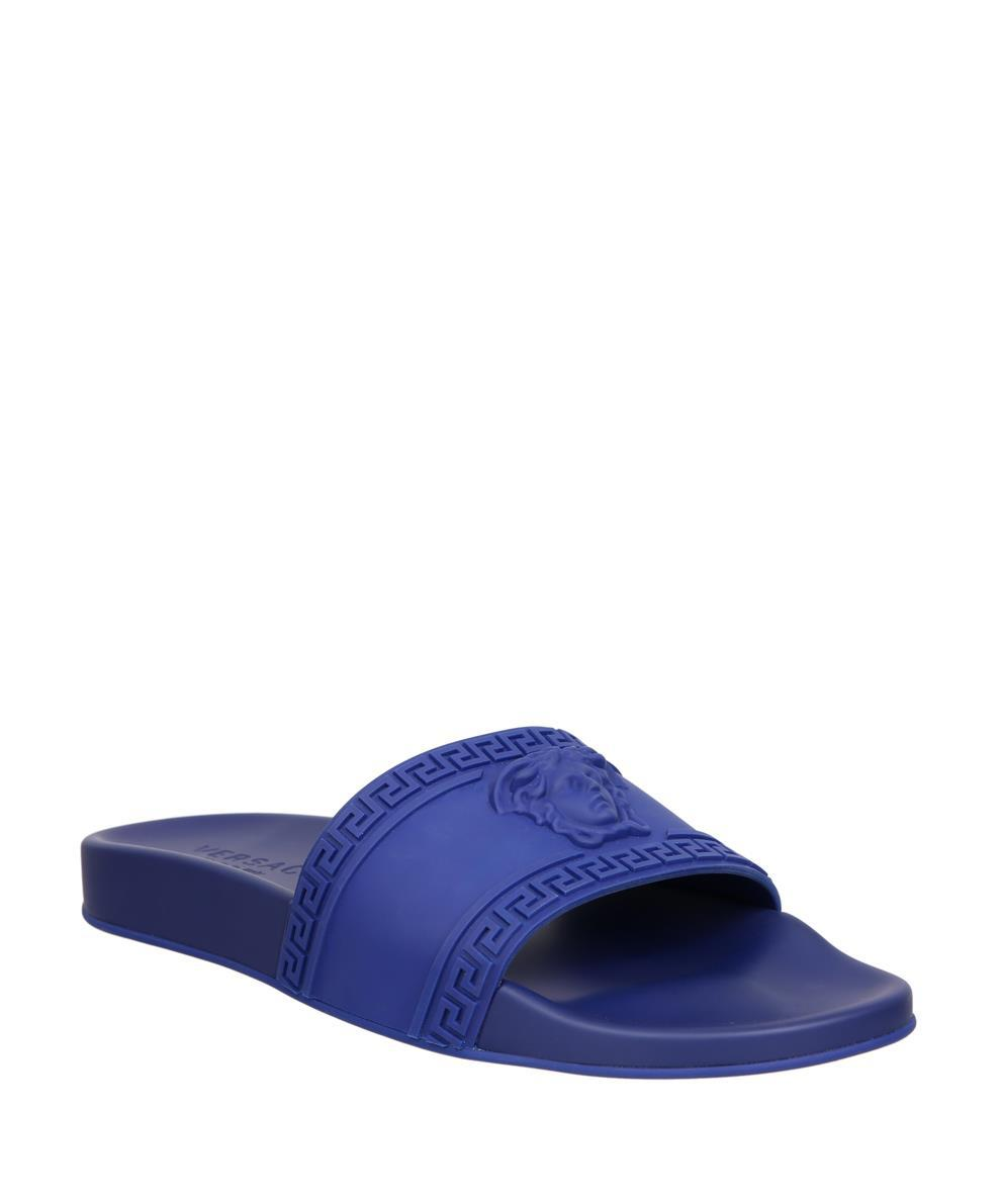 db06ad04bd74 Versace Medusa Rubber Slides in Blue for Men - Save 70% - Lyst