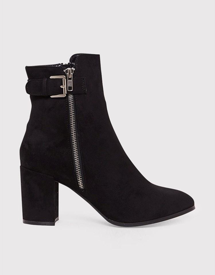 prettylittlething faux suede buckle ankle boots in black