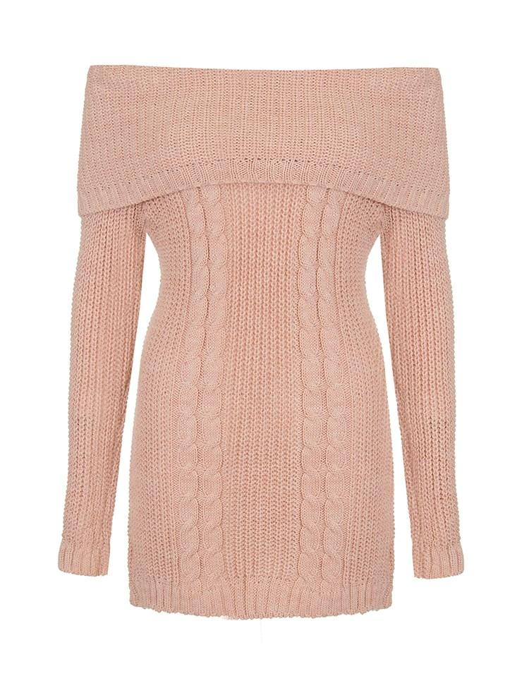 Knitting Trivia Questions : Quiz cable knit bardot jumper in pink lyst