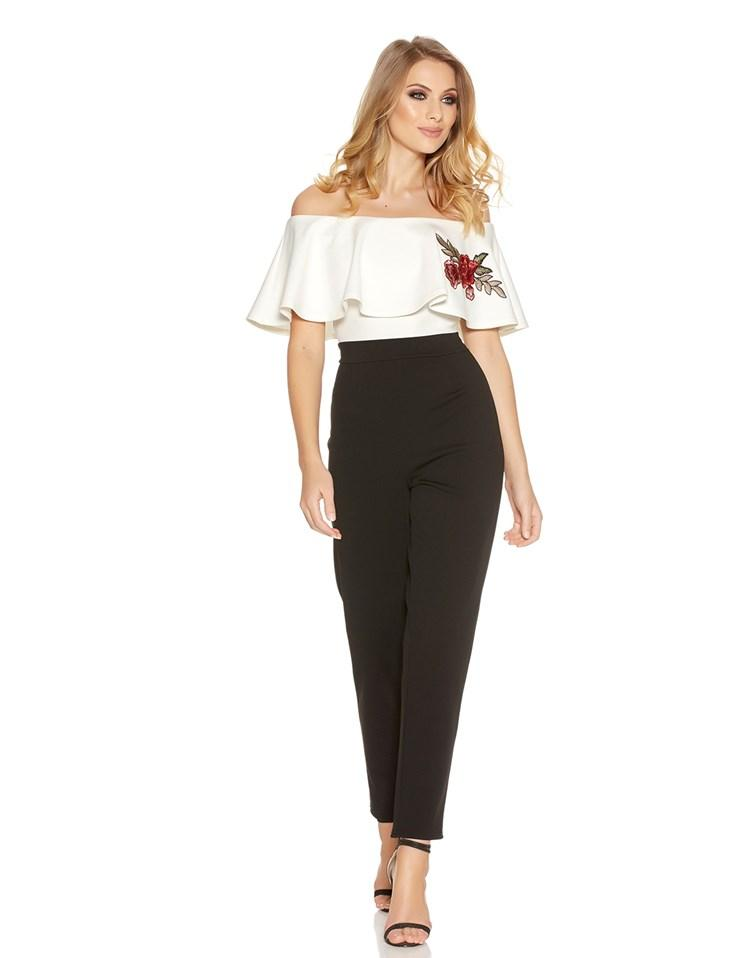 Quiz Bardot Frill Embroidered Jumpsuit In Black Lyst